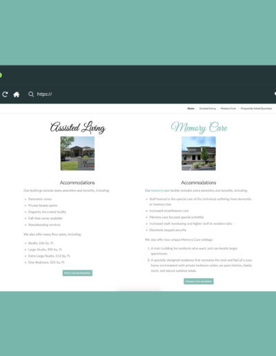 A section of a website featuring two options, assisted living and memory care.