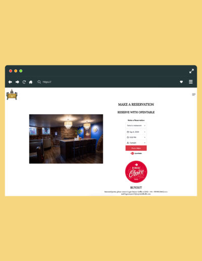 A browser showing a reservations page on a website with an image on the left and information on the right.