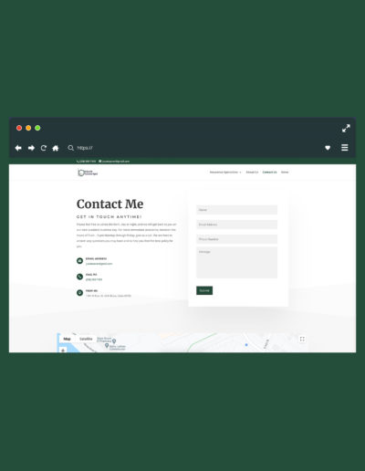 A browser on a green background. The browser shows a contact page.