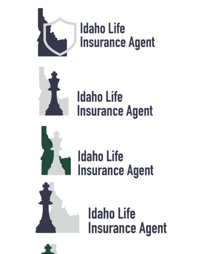 Six life insurance logos featuring the state of Idaho, chess pieces, and shields.
