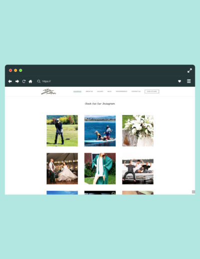 A desktop version of the website showing an Instagram feed within the photography website.