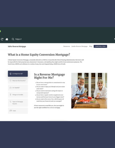 More information section of the reverse mortgage site, where users can toggle through different options.