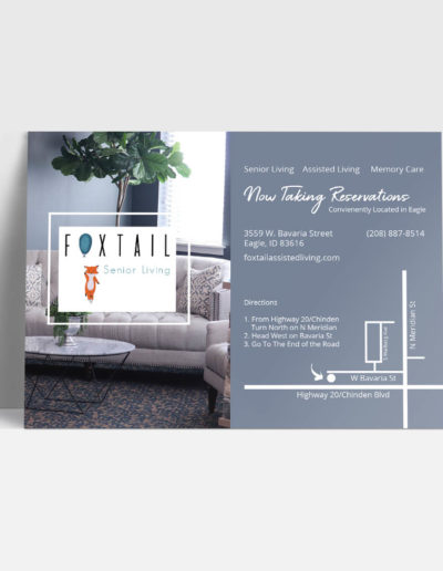 Print mailer on a white background featuring information for a new senior living facility.