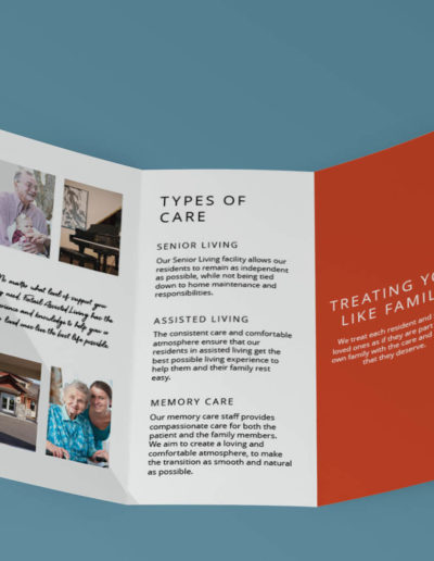 A trifold brochure on a blue background.