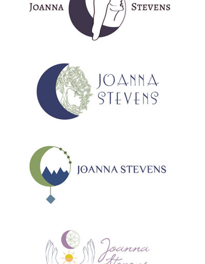 """Four logos featuring the text """"Joanna Stevens"""" along with moons and other spiritual elements."""